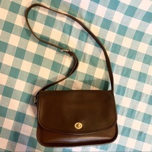 Vintage Brown Leather Coach Crossbody Flap Purse